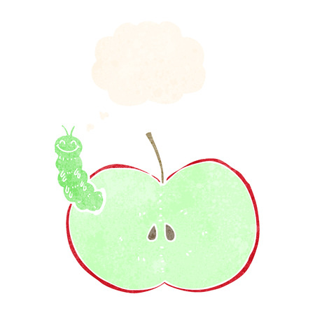 cartoon bug: cartoon bug eating apple with thought bubble Illustration
