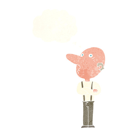 folded: cartoon old man with folded arms with thought bubble