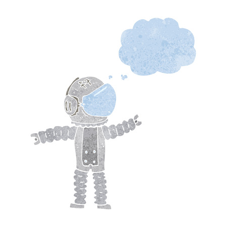 reaching: cartoon astronaut reaching with thought bubble Illustration