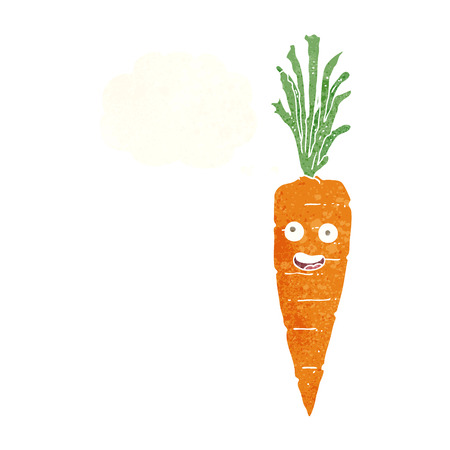 cartoon carrot: cartoon carrot with thought bubble