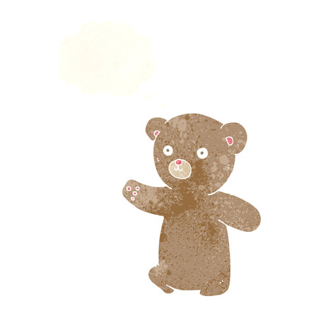 cartoon teddy bear with thought bubble Illustration