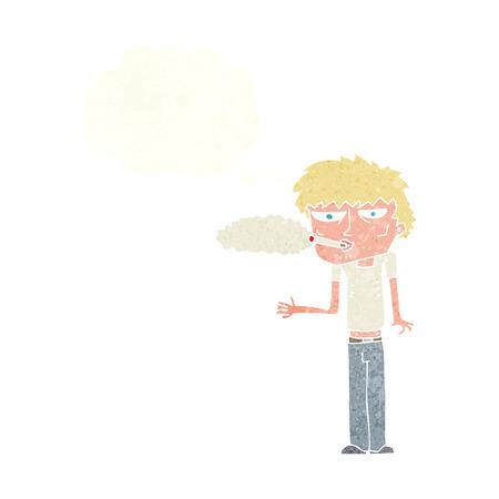 smoker: cartoon smoker with thought bubble