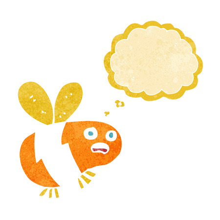 thought bubble: cartoon bee with thought bubble Vettoriali