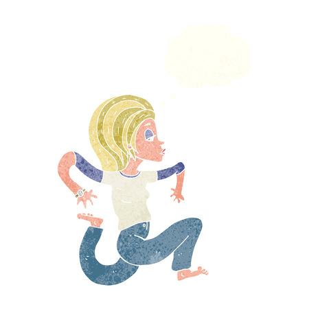 donna che corre: donna cartone animato in esecuzione con bolla di pensiero