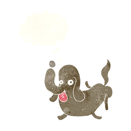 sticking: cartoon dog sticking out tongue with thought bubble