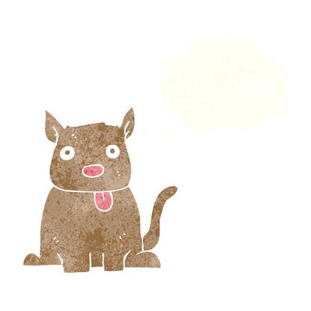 sacar la lengua: perro del dibujo animado sacar la lengua con la burbuja del pensamiento