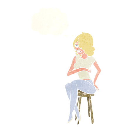 bar stool: cartoon woman sitting on bar stool with thought bubble