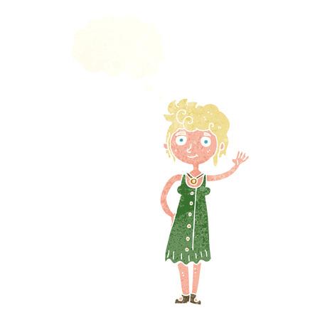 mujer hippie: mujer hippie historieta que agita con la burbuja del pensamiento Vectores