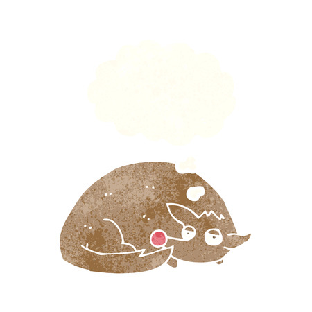 curled up: cartoon curled up dog with thought bubble Illustration