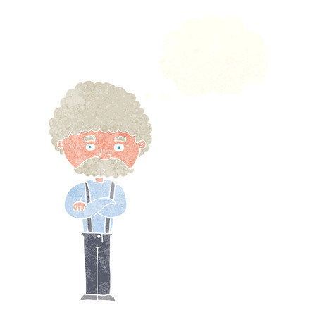 cartoon old man  with thought bubble Illustration