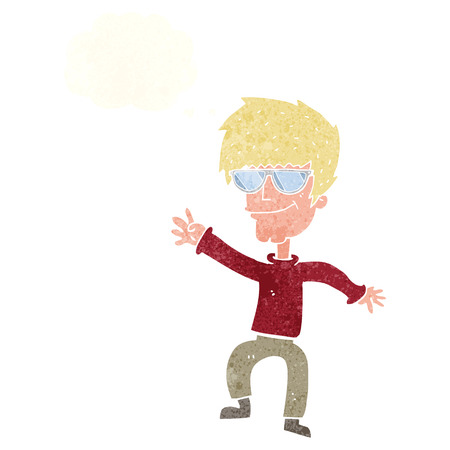 cool guy: cartoon waving cool guy with thought bubble