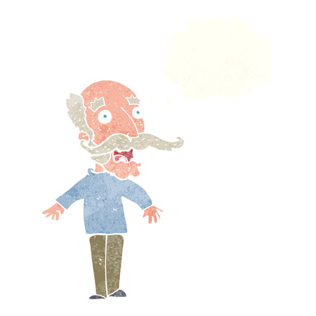 cartoon old man gasping in surprise with thought bubble Illustration