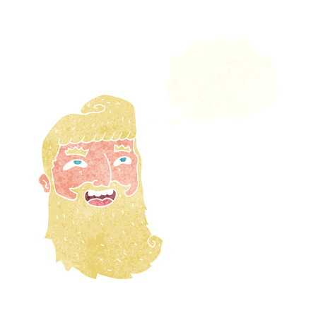 bearded: cartoon laughing bearded man with thought bubble Illustration