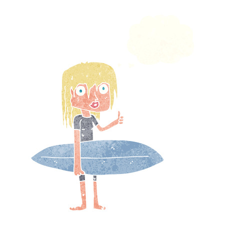 funny surfer: cartoon surfer girl with thought bubble Illustration