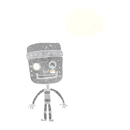 funny robot: cartoon funny robot with thought bubble