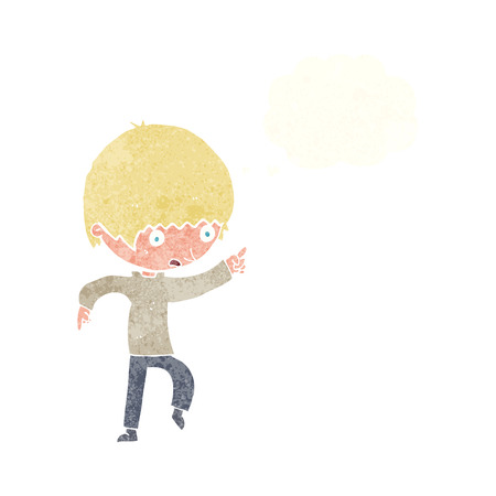 worried: cartoon worried boy pointing with thought bubble Illustration