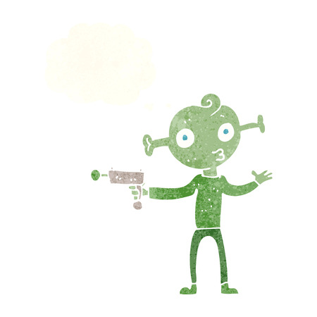 ray gun: cartoon alien with ray gun with thought bubble