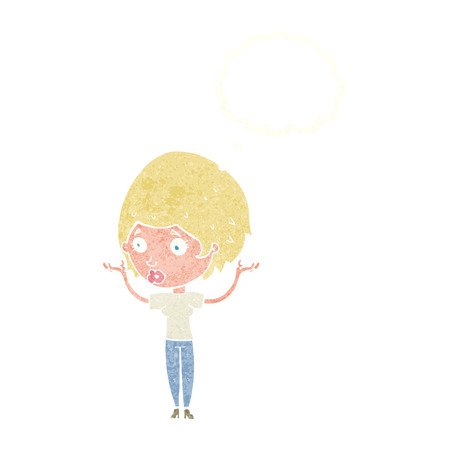hands in the air: cartoon woman raising hands in air with thought bubble