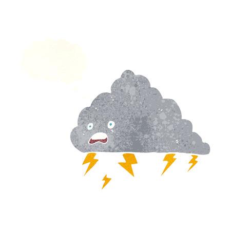 thundercloud: fumetto nube temporalesca con bolla di pensiero Vettoriali