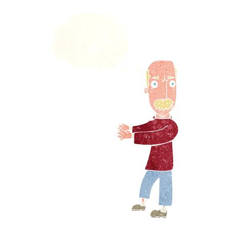 balding: cartoon balding man explaining with thought bubble