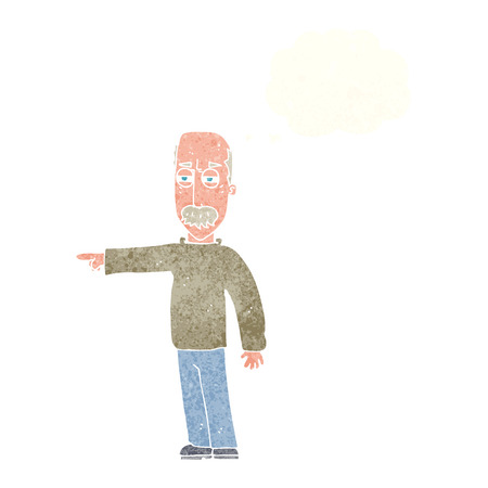 get out: cartoon old man gesturing Get Out! with thought bubble