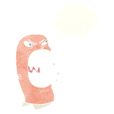furious: cartoon furious man shouting with thought bubble Illustration