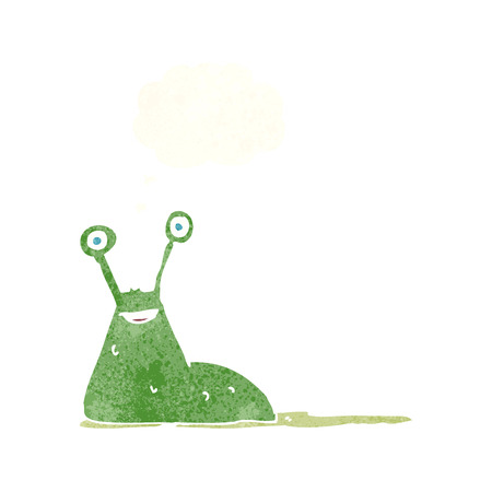 slimy: cartoon slug with thought bubble Illustration