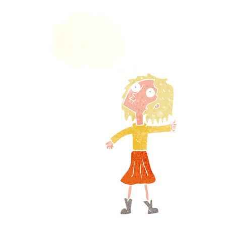 frau nach oben schauen: Cartoon Frau auf der Suche in den Himmel mit Gedankenblase