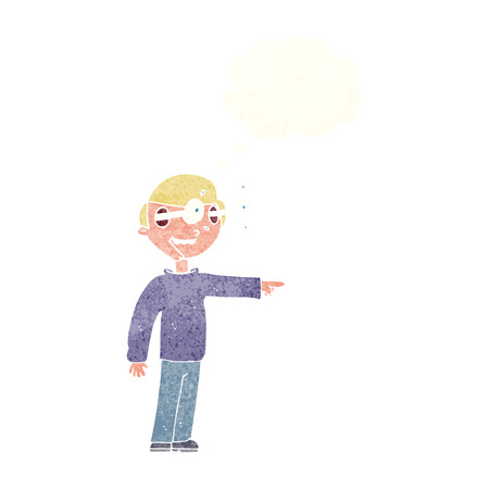 man looking out: cartoon staring man with thought bubble Illustration