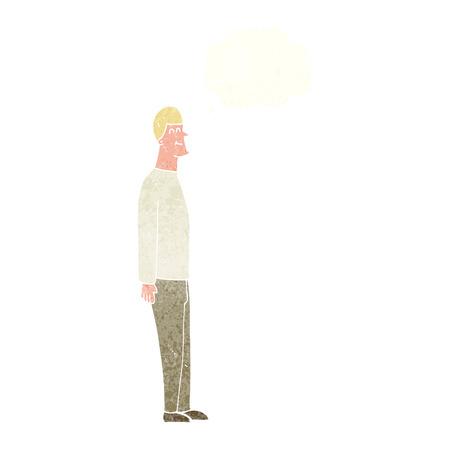 uomo alto: cartone animato uomo alto con bolla di pensiero Vettoriali