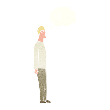 tall man: cartoon tall man with thought bubble