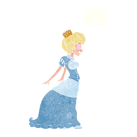 cartoon princess: cartoon princess with thought bubble Illustration