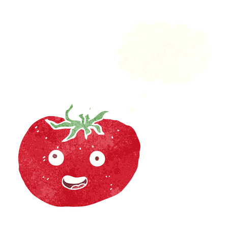 thought bubble: cartoon tomato with thought bubble Vettoriali