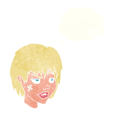 tough girl: cartoon woman with plaster on face with thought bubble Illustration