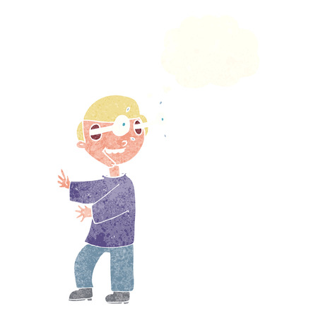 popping: cartoon boy with popping out eyes with thought bubble Illustration