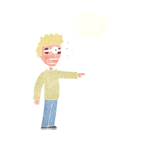 popping out: cartoon man with popping out eyes with thought bubble Illustration