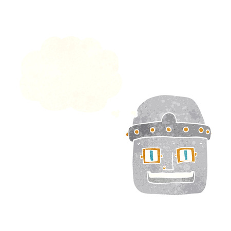 robot head: cartoon robot head with thought bubble Illustration