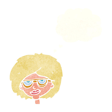 girl wearing glasses: cartoon woman wearing spectacles with thought bubble