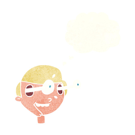 man looking out: cartoon excited boys face with thought bubble