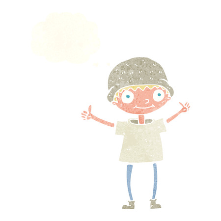 positive thought: cartoon boy with positive attitude with thought bubble Illustration