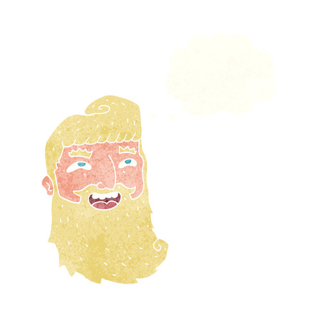 cartoon man with beard laughing with thought bubble