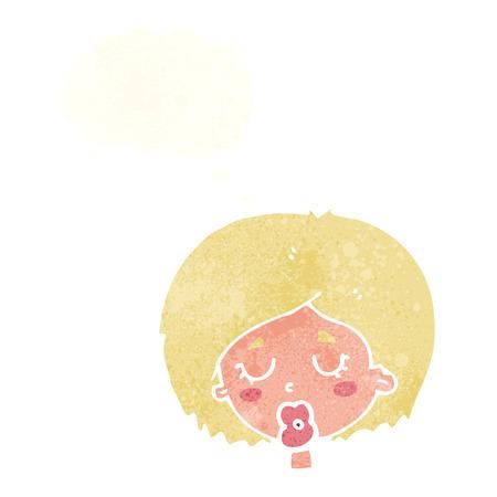 geschlossene augen: Cartoon Frau mit geschlossenen Augen mit Gedankenblase
