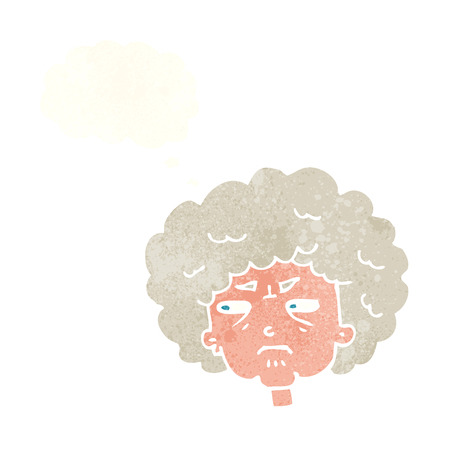 alte frau: Cartoon bittere alte Frau mit Gedankenblase