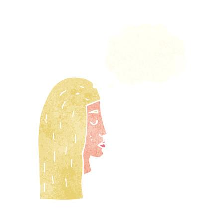 perfil de mujer rostro: Perfil de la cara femenina de la historieta con la burbuja del pensamiento Vectores