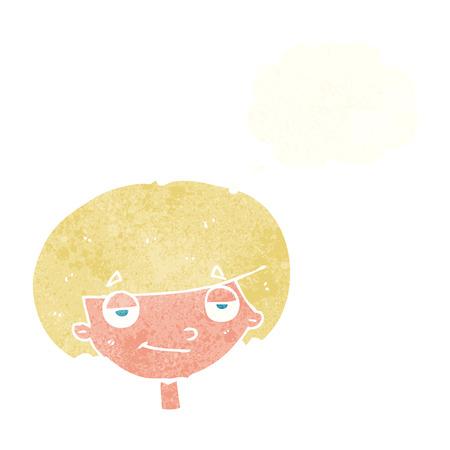 smug: cartoon smug looking boy with thought bubble Illustration