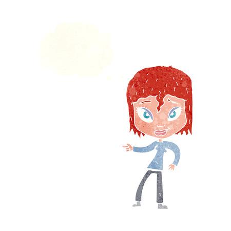 relajado: dibujos animados mujer relajada se�alando con burbuja de pensamiento