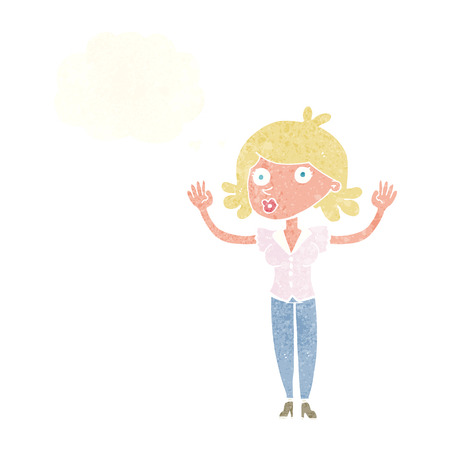 surrendering: cartoon woman surrendering with thought bubble Illustration