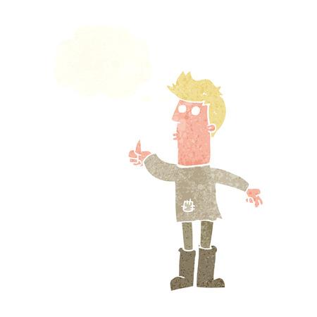hombre pobre: dibujos animados pobre hombre con la burbuja del pensamiento Vectores