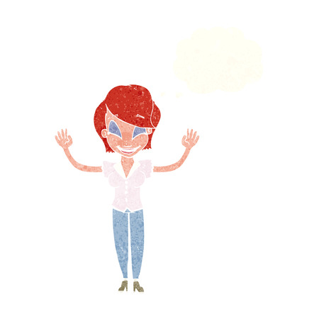 hands in the air: cartoon pretty woman with hands in air with thought bubble Illustration