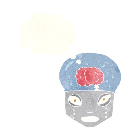 robot head: cartoon spooky robot head with thought bubble